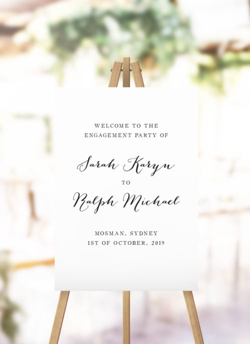 Pretty Cursive Calligraphy Engagement Party Welcome Sign