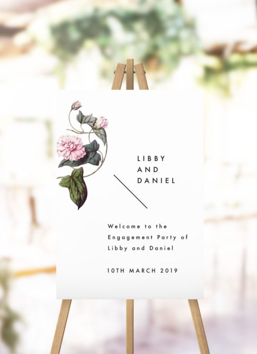 Lush Flower Botanical Vine Engagement Welcome Sign