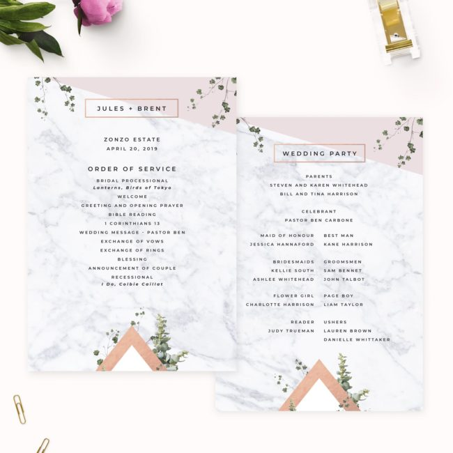 Modern Geometric Marble Rose Gold Wedding Ceremony Programs