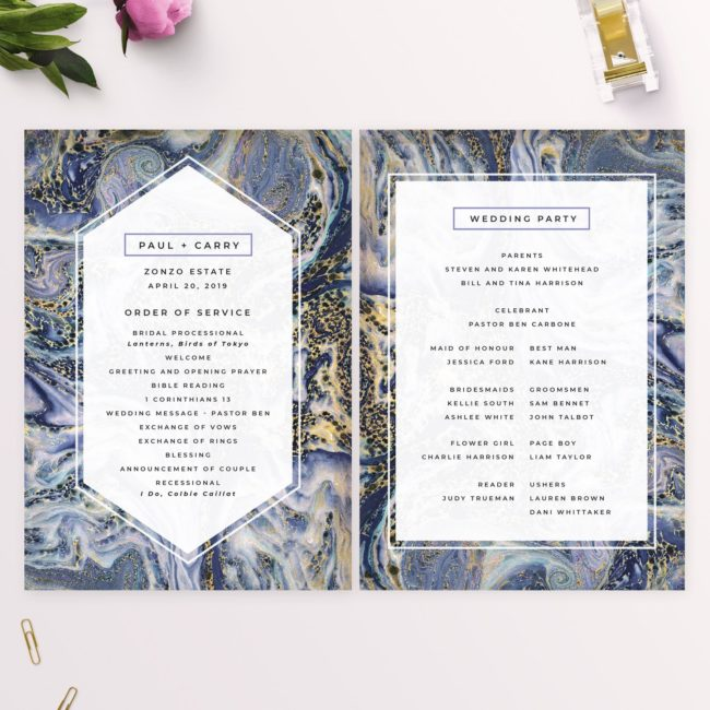 Blue Purple and Gold Marbled Wedding Ceremony Programs