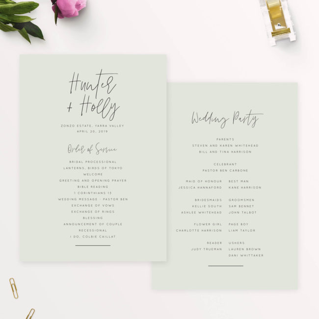 Pale Olive Green Minimal Modern Chic Wedding Ceremony Programs