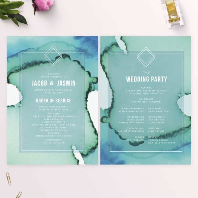 Turquoise Abstract Wedding Ceremony Programs