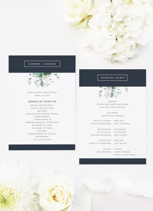 Green White Navy Modern Botanical Wedding Ceremony Programs