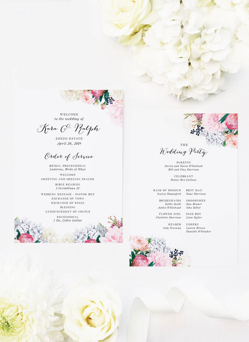 Pretty Protea Native Floral Wedding Ceremony Programs