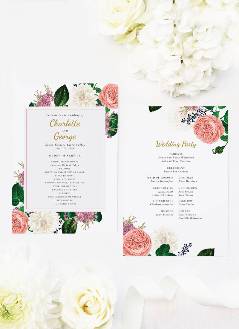 Romantic Blush Roses Elegant Wedding Ceremony Programs