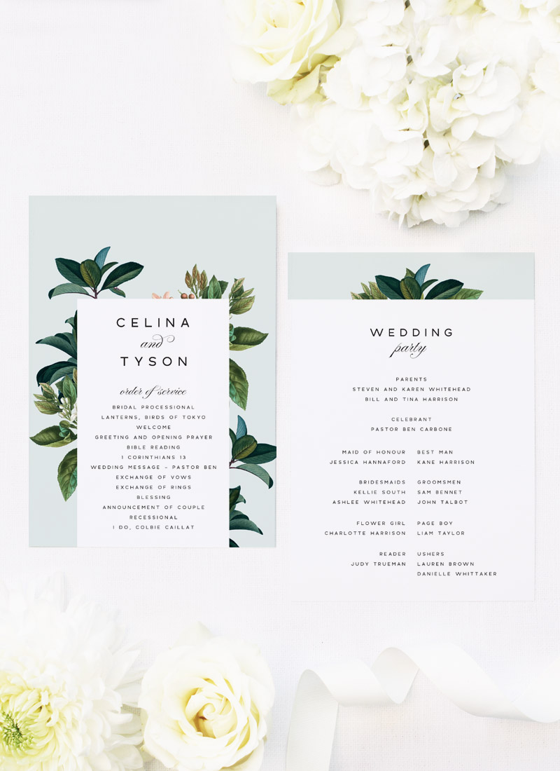 Classy Elegant Botanical Wedding Ceremony Programs