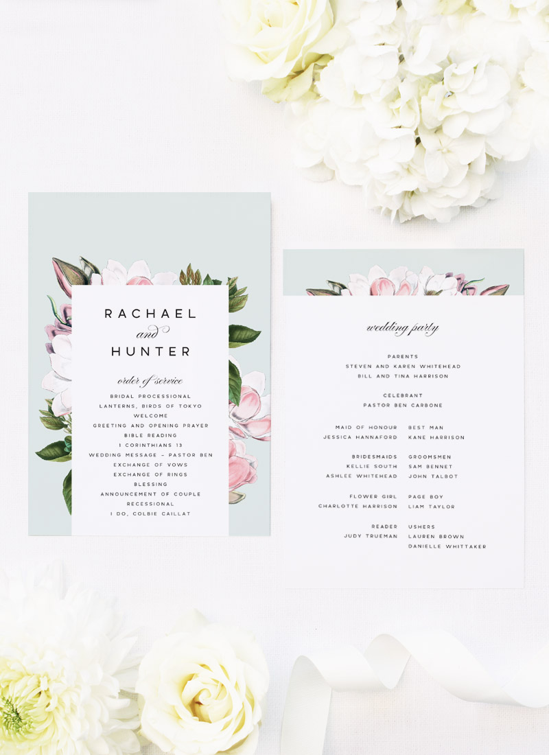 Elegant Magnolia Flower Wedding Ceremony Programs