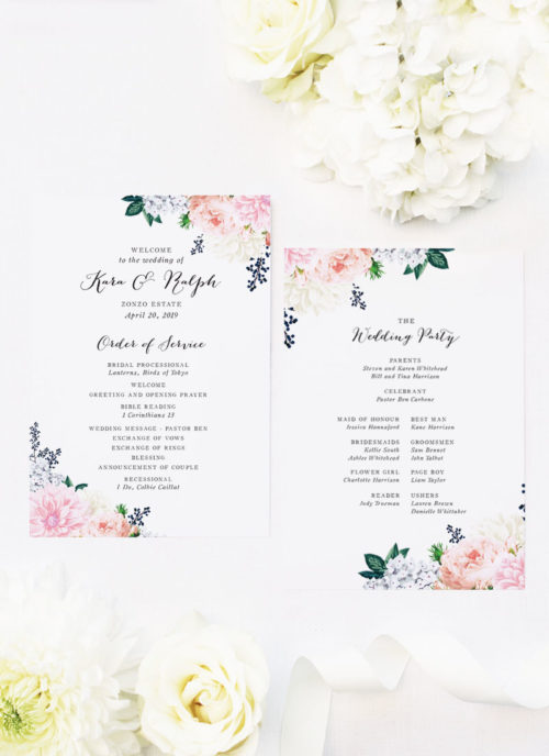 Berries Elegant Dahlia Pastel Floral Wedding Ceremony Programs