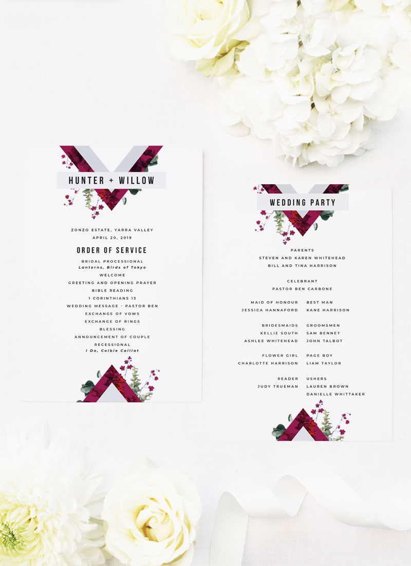 Burgundy Crimson Botanical Greenery Wedding Ceremony Programs