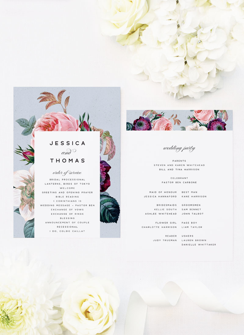 Elegant Rose Bouquet Floral Wedding Ceremony Programs