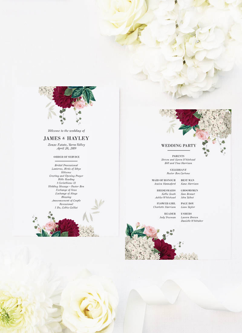Floral Burgundy Crimson Red Botanicals Wedding Ceremony Programs