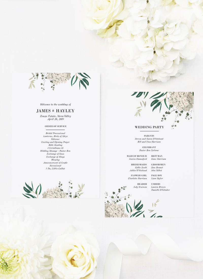 Classic Gum Tree Eucalyptus Leaves Native Wedding Ceremony Programs