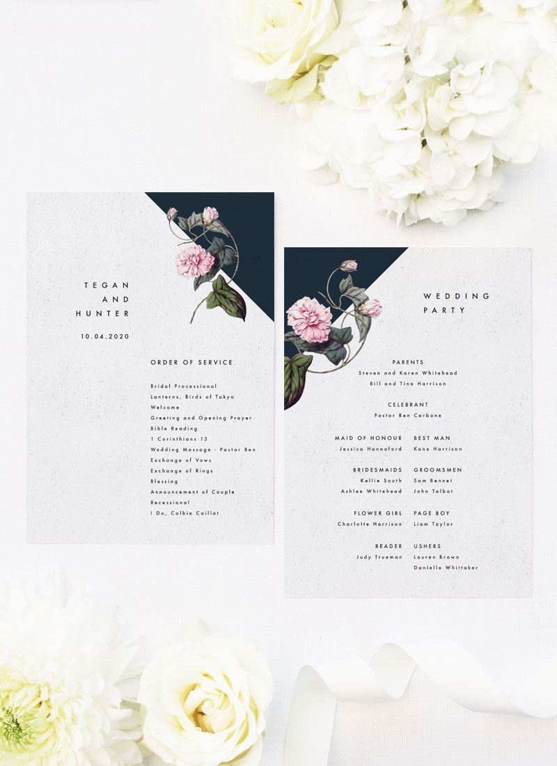 Contemporary Black White Botanical Wedding Ceremony Programs