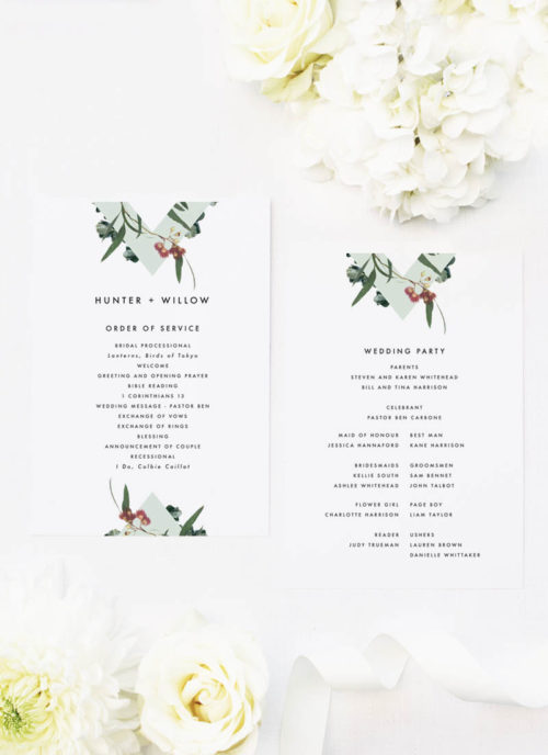 Eucalyptus Leaves Native Botanical Floral Wedding Ceremony Programs