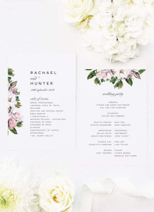Elegant Magnolia Flowers Ceremony Programs pink petals green leaves