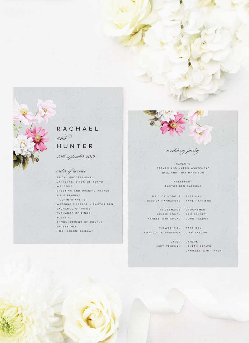 Elegant Grey Floral Wedding Ceremony Programs