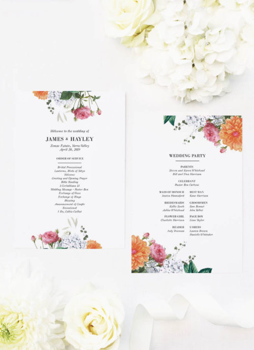 Vintage Botanical Pink Orange Peach Wedding Ceremony Programs