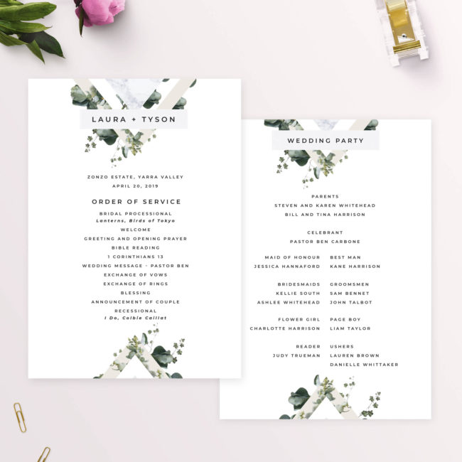 Natural Greenery Marble Modern Botanical Wedding Ceremony Programs