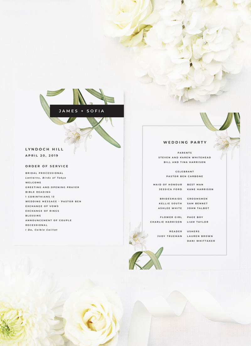 Lily Green White Black Modern Vintage Botanical Wedding Ceremony Programs