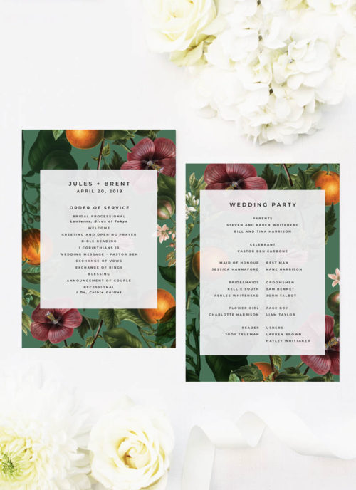 Lush Green Tropical Botanical Wedding Ceremony Programs