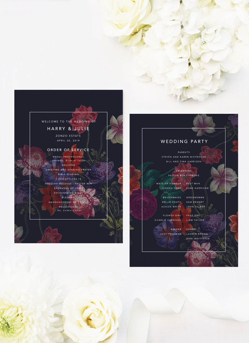 Moody Marsala Dark Floral Wedding Ceremony Programs