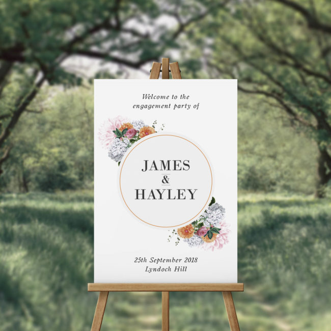 Clover Vintage Floral Circle Engagement Party Sign