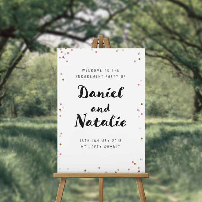 Confetti Gold Pink Dots Engagement Party Welcome Sign