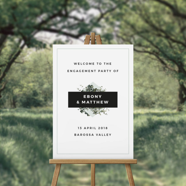 Natural Chic Modern Botanical Engagement Party Welcome Sign