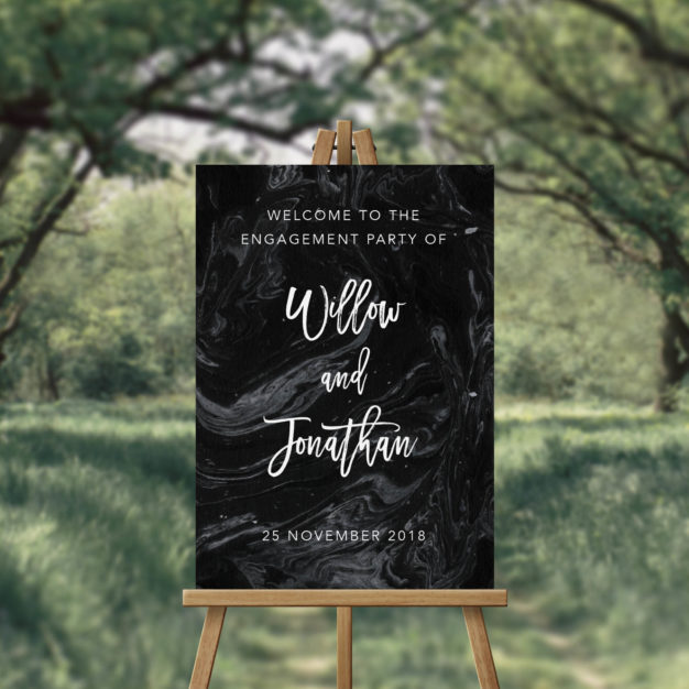 Black Marble Engagement Party Welcome Sign