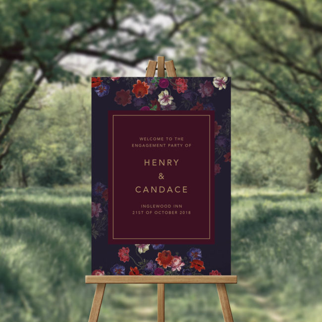 Marsala Love Burgundy Floral Engagement Party Welcome Sign