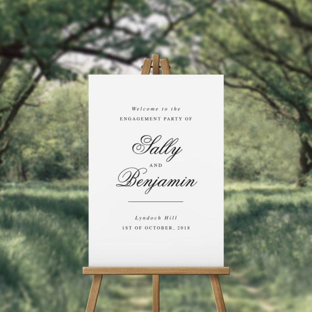 Romantic Cursive Script Engagement Party Welcome Sign