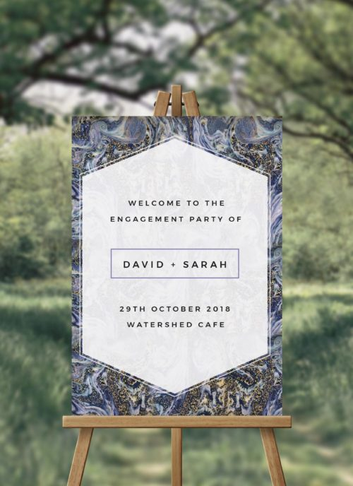 Midnight Marble Engagement Party Welcome Sign