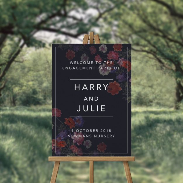 Moody Marsala Dark Florals Engagement Party Welcome Sign