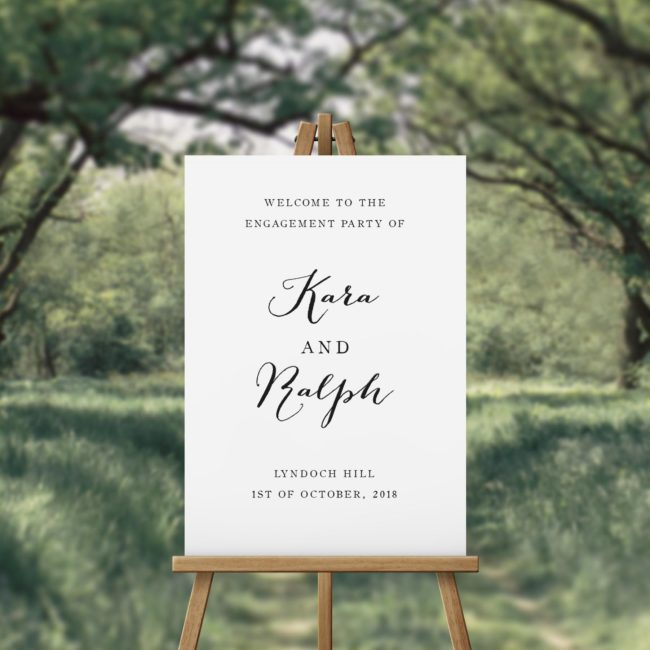 Clean Pretty Calligraphy Engagement Party Welcome Sign