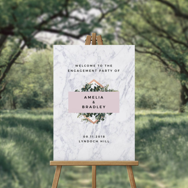 Marble Blush Chic Engagement Party Welcome Sign