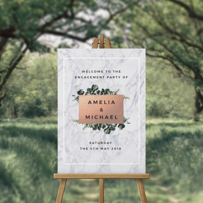 Rose Gold Marble Engagement Party Welcome Sign