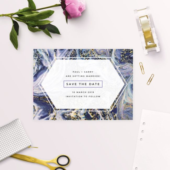 Blue Purple and Gold Marbled Save the Dates modern contemporary marble save the dates midnight marble