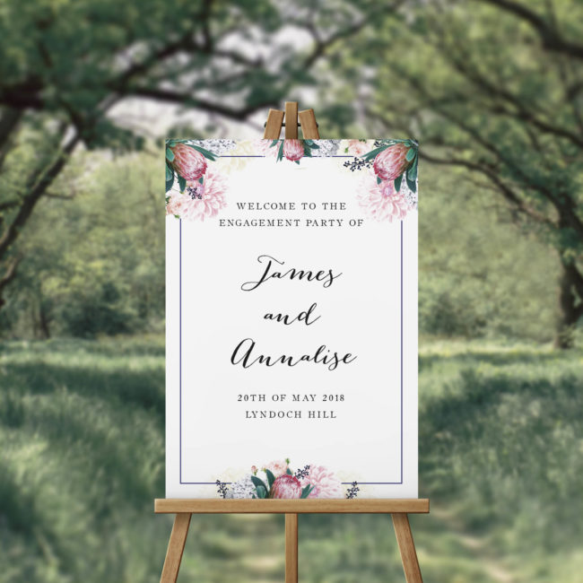 Pretty Protea Engagement Party Welcome Sign