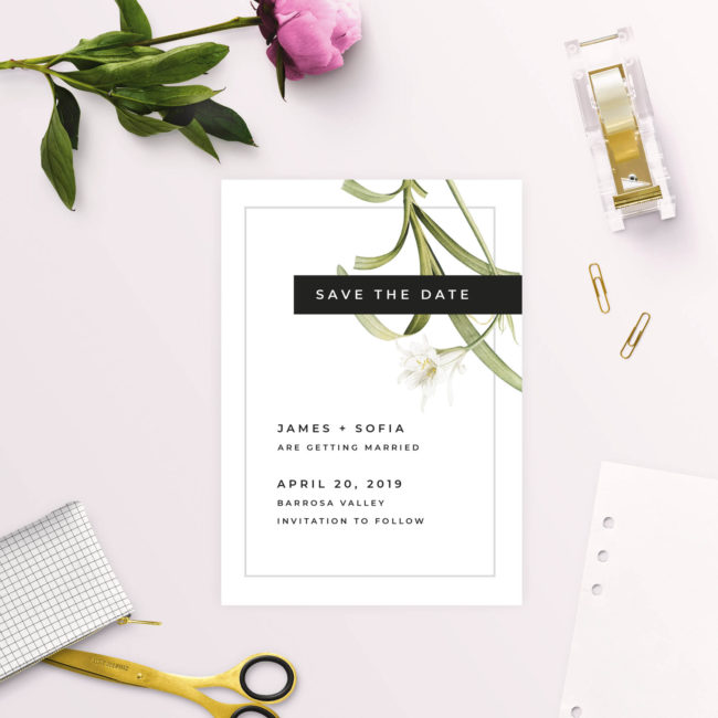 Modern White Lily Flower Save the Dates