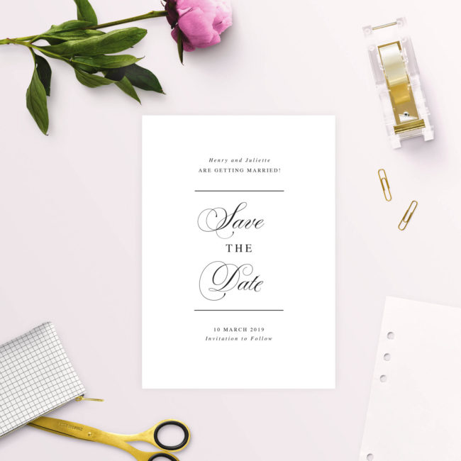 Beautiful Formal Script Calligraphy Save the Dates