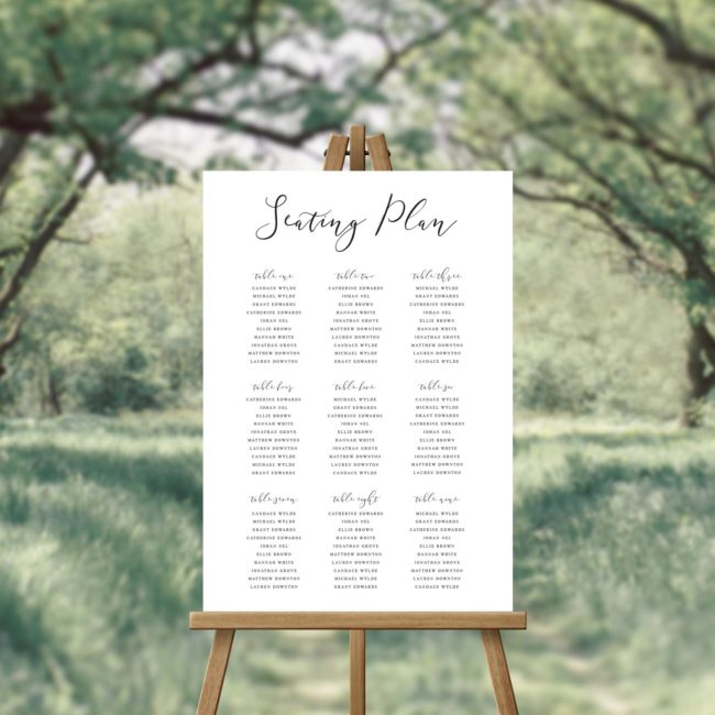 Flowing Script Calligraphy Seating Plan
