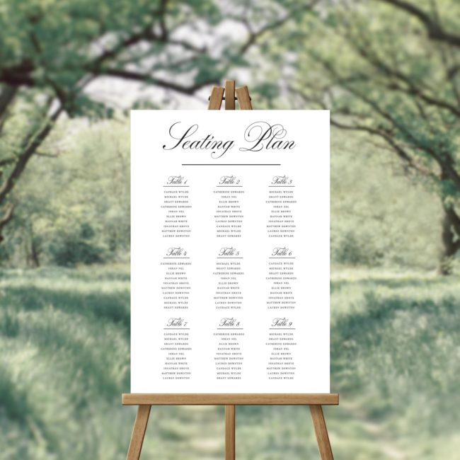 Simple Elegant Calligraphy Seating Plan