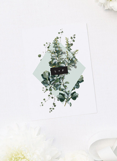 Natural Chic Green Modern Botanical Engagement Invitations