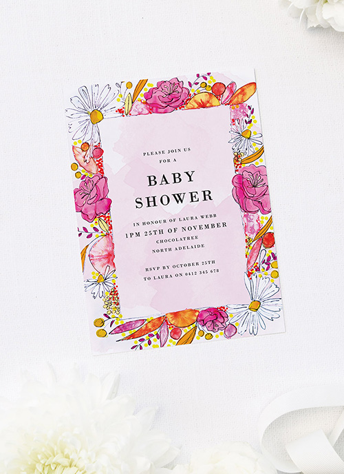 Beautiful Floral Border Baby Shower Invitations