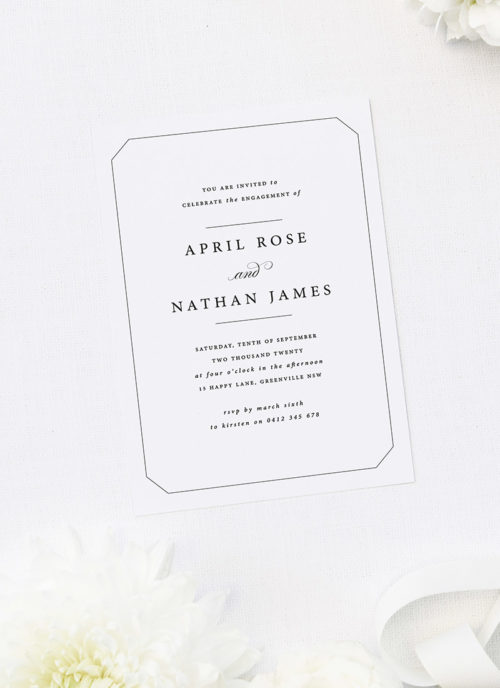 Detailed Border Classy Elegant Engagement Invitations