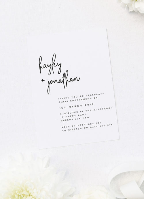 Modern Feature Names Hand Script Engagement Invitations