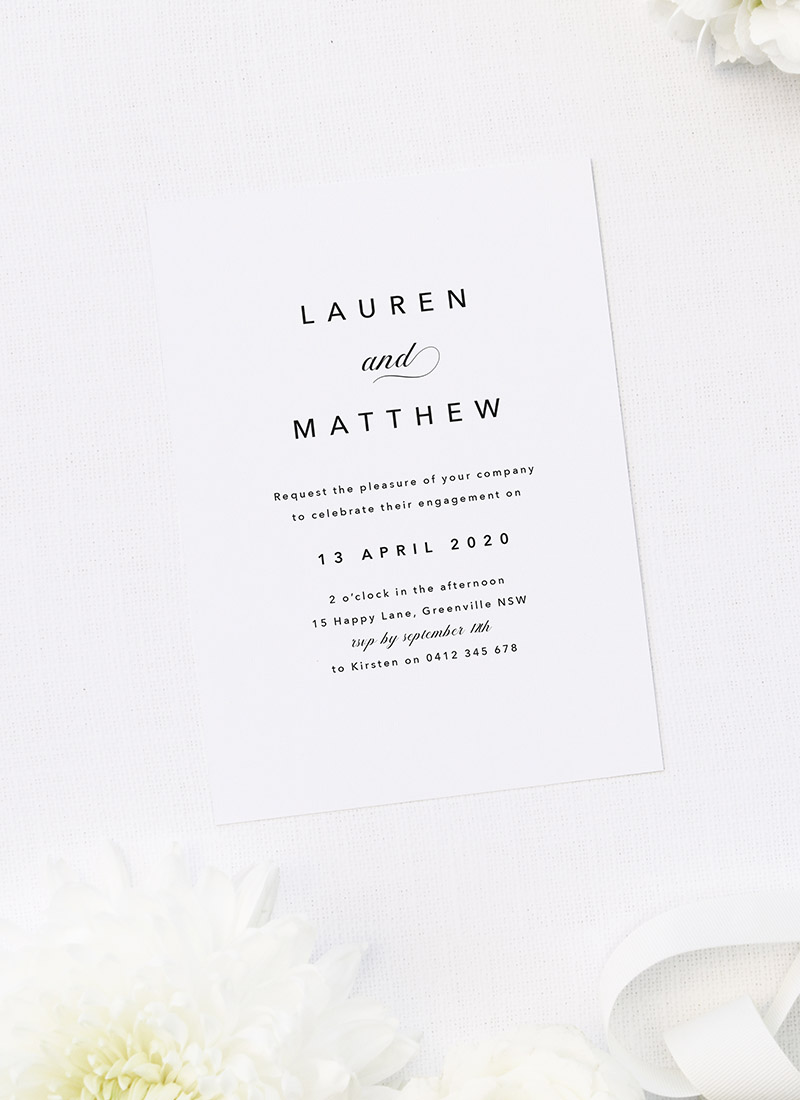 Stunning Simple Elegant Timeless Engagement Invitations