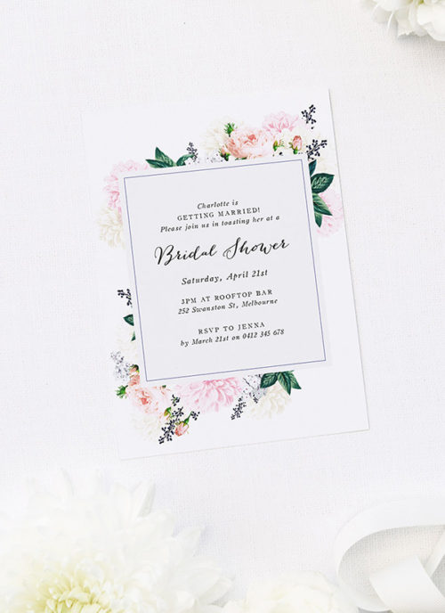 Elegant Dahlias Floral Bridal Shower Invitations