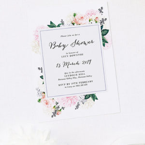 Elegant Floral Bouquet Baby Shower Invitations