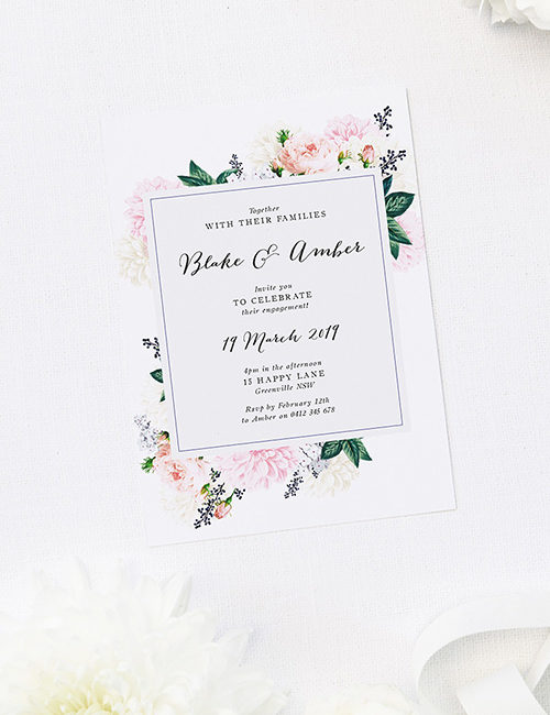 Pastel Floral Engagement Invitations